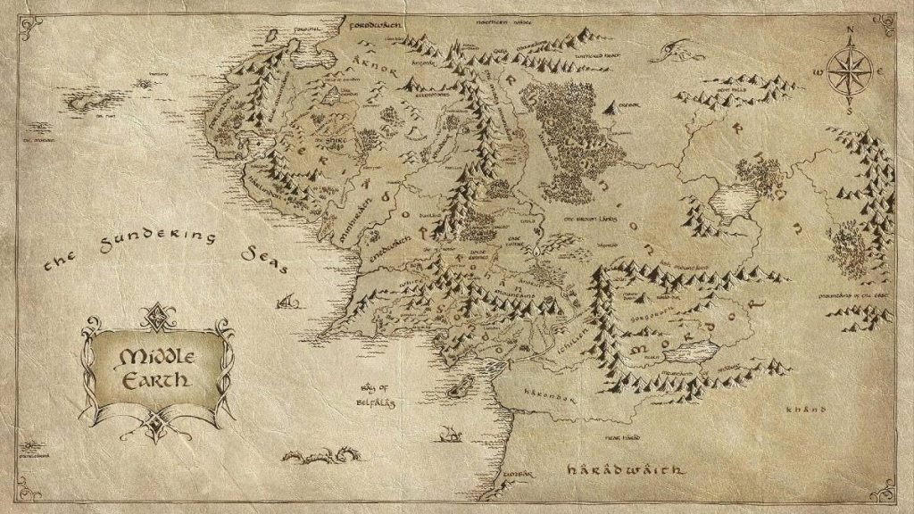 Map of Middle-earth (Lord of the Rings) and Key Locations